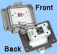 interpower GFCI socket withexternal NEMA 5-20R and an internal NEMA 5-15R control panel