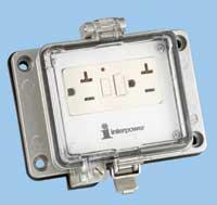 Interpower GFCI Socket with external duplex NEMA 5-20R GFCI socket